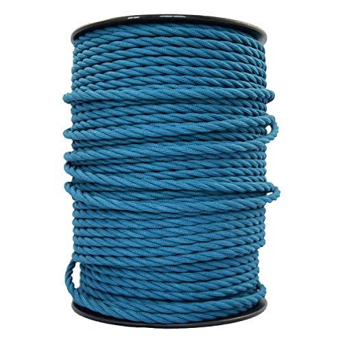 smartect Lampenkabel aus Textil in der Farbe Petrol Blau - 10 Meter Textilkabel - 3-Adrig (3 x 0.75mm²) - Textilummanteltes Stromkabel für DIY Projekt