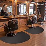 Barber Shop Chair Mat 3′x5′ Anti-Fatigue Floor Mat Salon Mat - Black Semi Circle Salon Mat - 1/2' Thick Office Comfort Floor Mat