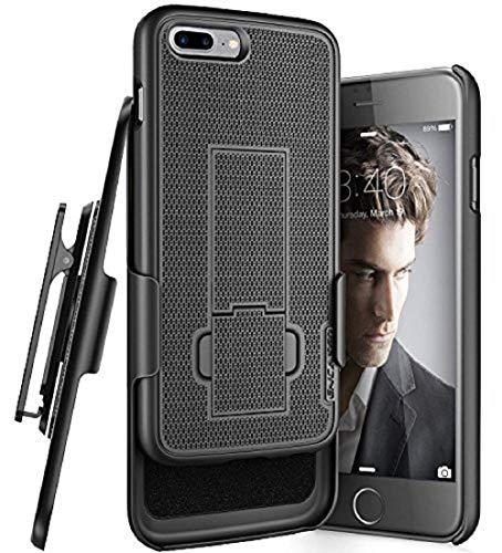 "iPhone 8 Plus Belt Holster, Encased Thin Fit [DuraClip Series] Slim Grip Case & Belt Clip for Apple iPhone 8 Plus 5.5"" (Smooth Black)"