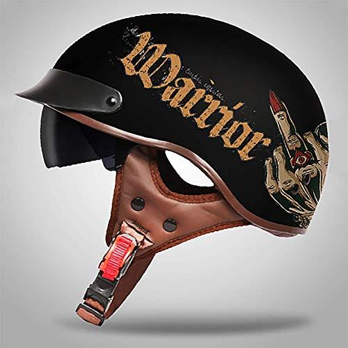 Persönlichkeit Graffiti Retro Harley Offenes Motorradhelm mit Schutzbrille, Abnehmbar Atmungsaktiv Warm Halten Damen und Herren Jet-Helm Scooter-Helm ECE Genehmigt, Schwarz M-XXL (57-64cm),A,XXL