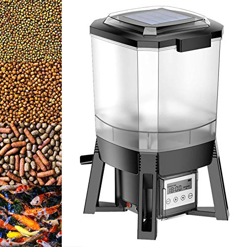 WilTec CFF-206 alimentador automático para Peces de Estanque, batería Solar, programable, 1-6 Tomas/día