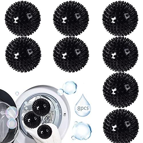 Secadores de bolas,Bolas de secado reutilizables,Bolas para Secadora de Ropa,Bola secadora (Negro, 8)