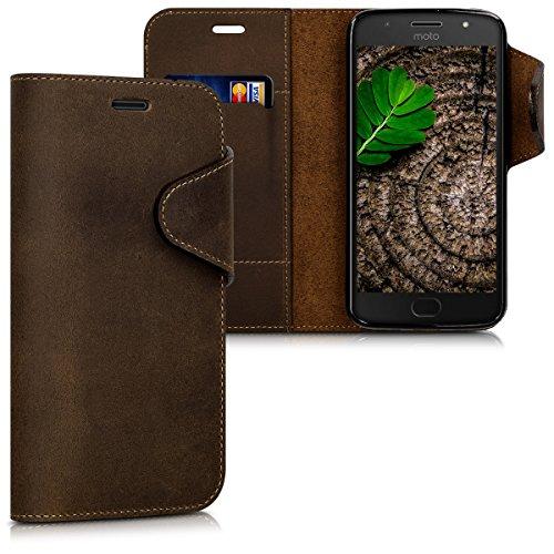 kalibri Wallet Hülle kompatibel mit Motorola Moto G5S - Hülle Leder - Handy Cover Handyhülle in Braun