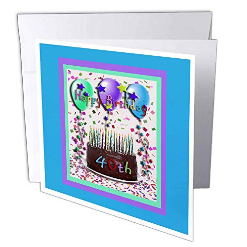 3drose Happy Birthday 40. Chocolade cake - wenskaarten, 15,2 x 15,2 cm, set 6 (GC 20208 1)