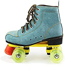 Classic Quad Artistic Roller Skates for Adult and Youth Suede Leather Shoes for Indoor and Outdoor, Blue,43