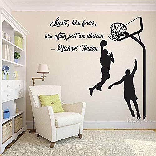 Muurstickers muurschilderingen Decals Basketbal Basketbal Mand Basketbal Speler Kinderkamer 44X42cm