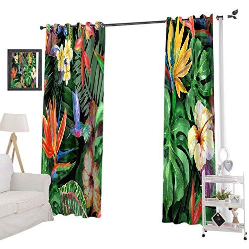 YUAZHOQI Blackout Curtains for Bedroom, Tropical Flowers Watercolor Pattern Exotic Leaves and Plants Realistic watercolo, 52' x 84' for Kids Decor Customized Curtains