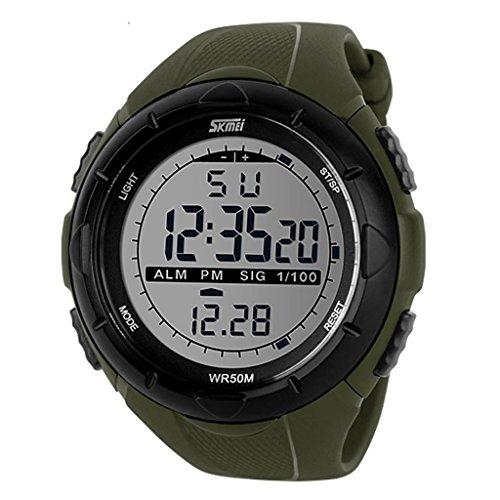 Yafang Skmei hombres estilo militar de la pantalla LCD Digital impermeable deportivo reloj de pulsera - verde