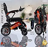 5 Colors ONE Click Automatic Folding Lightweight Best Exclusive Motorized Electric Wheelchair Scooter, Airplane Travel Safe, Heavy-Duty Power Electric Wheelchair (21.5'' seat Width) (Red and Black)