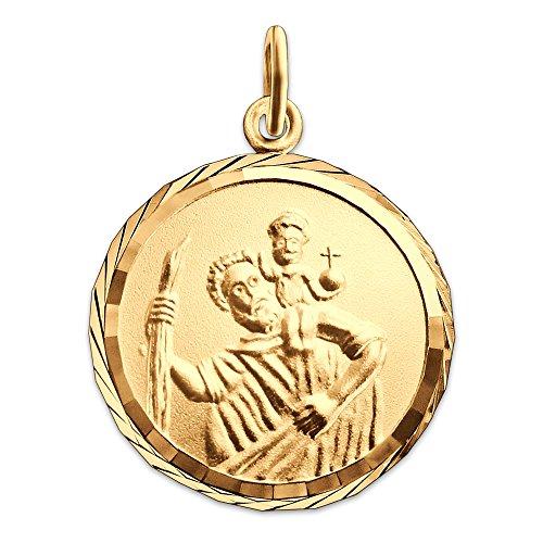 Clever Schmuck Goldener Anhänger Christopherus Ø 16 mm, Rand diamantiert mit Gott schütze Dich 333 GOLD 8 Karat
