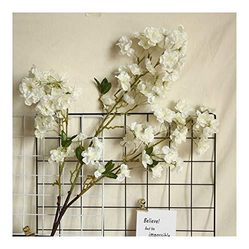 Restos De tallo largo artificial flores de cerezo seda + Plastic Flores Sakura Branch for el hogar boda del hotel de la decoración de la decoración de Navidad Nunca ( Color : White , Size : 100cm )