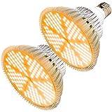 MILYN 2 Piezas Lamparas Led Cultivo de Plantas, LED Lámpara de Crecimiento de Sunlike Espectro Completo, E27 Bombilla de Cultivo LED para Plantas Interior Invernadero Orquideas Crecimiento y Floracion