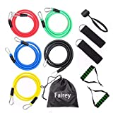 Fairey Resistance Bands Set, 11Pcs Portable Exercise Band, Work Out Bands with Handles, Training Tubes with Door Anchor & Leg Ankle Straps for Home Workouts, Yoga, Gym Training