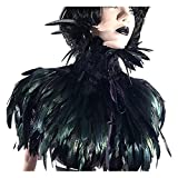 L'vow Gothic Black Feather Cape Shawl Shrug Poncho With Choker Collar (Black)