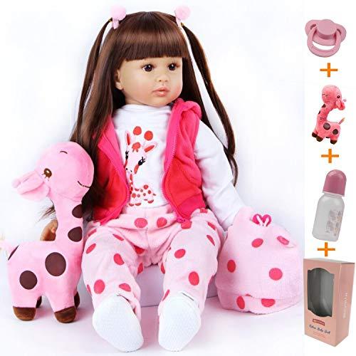 ZIYIUI 24 Zoll 60 cm Reborn Puppen Mädchen Kleinkind Vinyl Silikon Realistisch Lebensechte Reborn Babys Mädchen Neugeborenes Handgemacht Baby Spielzeug Geschenk