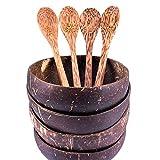 4 juegos (8 piezas) tazones de coco premium con cucharas, regalo 100% natural, hecho a mano, vegano pulido con aceite de coco, recipiente reutilizable para desayuno, servicio, decoración, fiesta