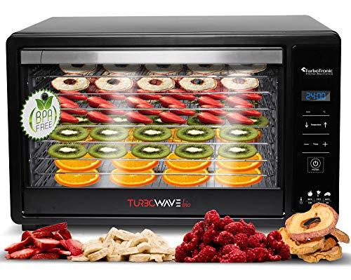 TurboTronic By Z-LINE TurboWave Bio Dörrgerät, Dörrautomat mit LED Anzeige, Temperatur von 35° - 80° Grad, 8 Einlegeboden aus Edelstahl, Dörrer für Lebensmittel inkl. Timer und Rezeptheft