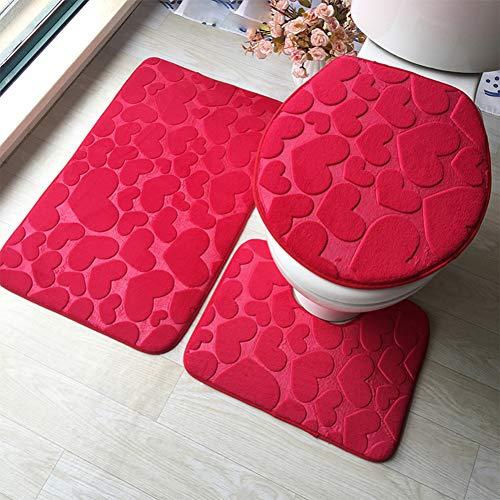 ZNBMTD 3Pcs Toilet Seat Cover Antiscivolo Aspirazione Presa da Bagno Tappetino da Bagno Cucina Tappetini Zerbini Decor Morbido Coprivaso Seat