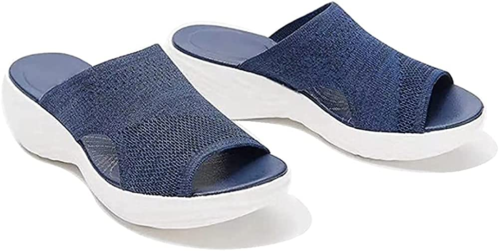 LELEBEAR 2021 Upgraded - Stretch Orthotic Slide Sandals, Women's Knitted Wedge Sports Corrective Sandals
