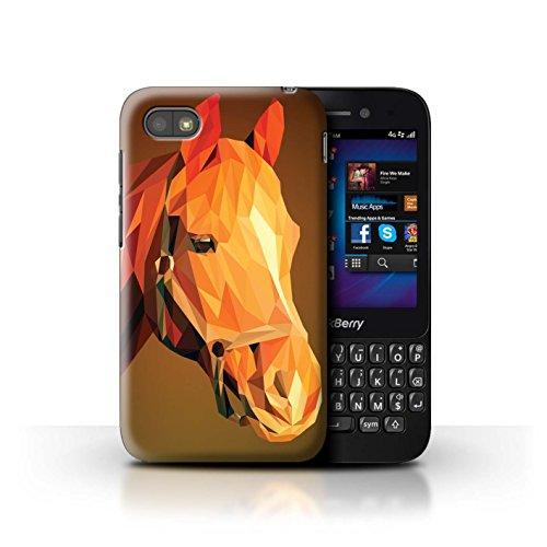 Stuff4® Hülle/Hülle für BlackBerry Q5 / Braunes Pferd Muster/Geometrisches Tier Tierwelt Kollektion