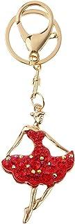 Hellery Diamante Strass Ballerine Danseuse Porte-cl/és Sac /à Main De Voiture Pendentif Sac De Charme Rouge