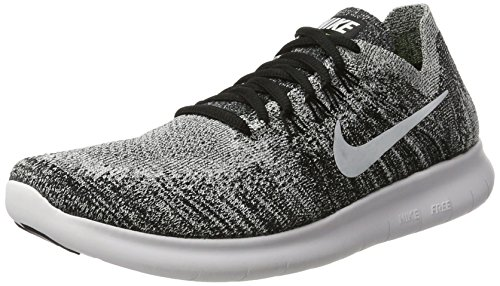 NIKE Womens Free RN Flyknit 2017 Running Shoes Black/Volt/White 880844-003 Size 9.5 US