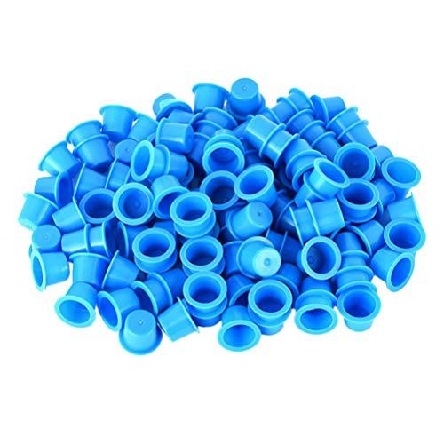 EXCEART 100 Pcs Jetables Encre Tasses en Plastique Tatouage Encre Tasses Maquillage Tatouage Encre Tasses Sourcil Tatouage Pigment Contenant (Bleu)