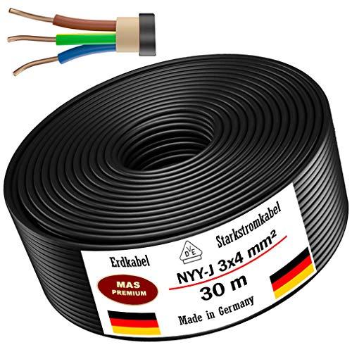Erdkabel Stromkabel 5m, 10m, 20m, 25m, 30m, 50m oder 90m NYY-J 3x4 mm² Elektrokabel Ring zur Verlegung im Freien, Erdreich (30m)