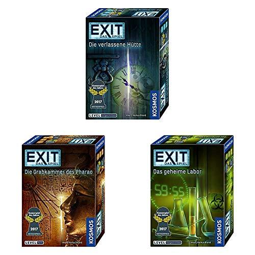 KOSMOS - EXIT- Das Spiel - 3er Set: Die verlassene Hütte + Das geheime Labor + Die Grabkammer des Pharao, Level Fortgeschrittene und Profis