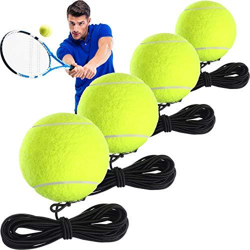 Gejoy 4 Piezas Pelotas de Entrenamiento de Tenis con Cuerda Herramienta de Entrenador de Auto Práctica para Entrenador de Tenis Práctica Ejercicio