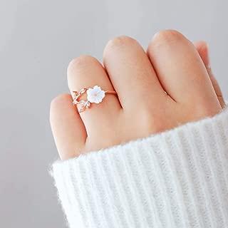 Barogirl Flower Ring Engagement Ring for Women's Rings for Lovers YR909 (1 Size, Rose-gold)