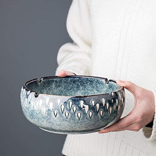 AMITD ash Tray ashtrays European-Style Retro Ceramic Ashtray Home Living Room Office Multi-Function Ashtray Coffee Table Large Capacity Ashtray-Large Sydney Blue