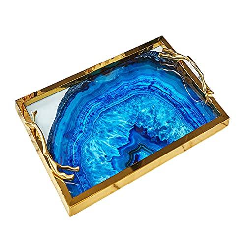Trays Kaffee-Dekoration-Tablett, Kerzenhalter-Tablett, goldene rechteckige Marmor-Keramik-Dekorationsschale, Schmuck-Tablett (Color : Gold)