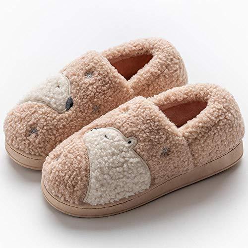 Flip Flop-GQ Zapatillas de algodón de Invierno para Hombres y Mujeres Zapatillas de Interior de Dibujos Animados Linda Pareja de Felpa Zapatillas Gruesas de Fondo grueso-42-43_Polvo Ligero