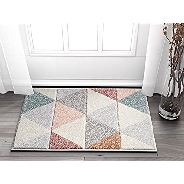 Well Woven Suave Angles Dusty Pink Red Copper Blue Grey Modern Geometric Hand Carved 2' x 3' Area Rug Easy to Clean Stain & Fade Resistant Thick Soft Plush