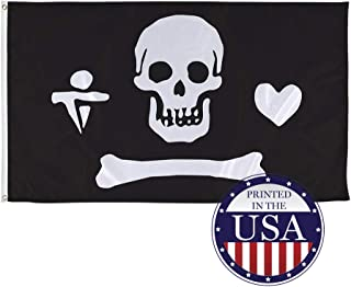 Vispronet Pirate Flags Jolly Roger Collection – Captain Stede Bonnet 1717-1718 The Gentlemen Pirate Flag – 3ft x 5ft Knitted Polyester and Flame-Retardant Flag – Made in The USA