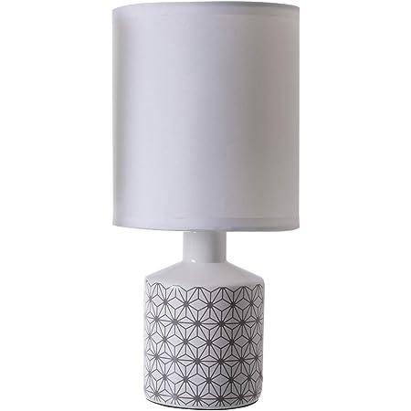 LUSSIOL Lampe de chevet Gisèle, lampe décorative céramique, 40 W, beige, ø 14 x H 29 cm