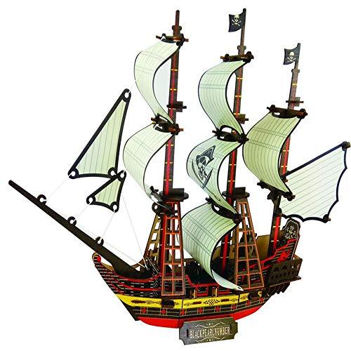 Mingliang Pirata Barco 3D Puzzle Juguetes De Madera DIY Ensamblados para Niños Juguetes Educativos para Niños Padre-niño Juegos 126 Piezas