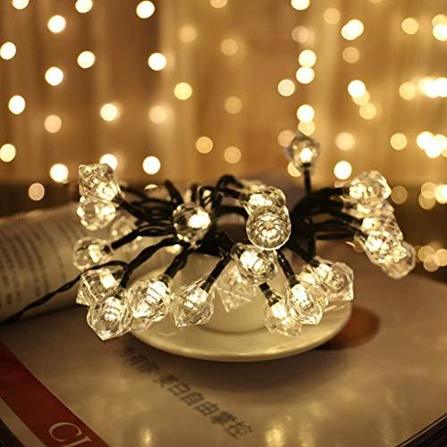 ZSML 6M 30LEDs Lámpara Solar Multifuncional en Forma de Diamante Cadena de Diamantes Decorados para Bodas Fiesta de Navidad Dormitorio