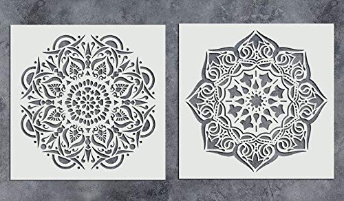 GSS Designs Pack of 2 Mandala Stencils Set (12x12 Inch) Reusable Floral Painting Template for Wood Wall Furniture Floor Tiles Glass Fabric (SL-014)