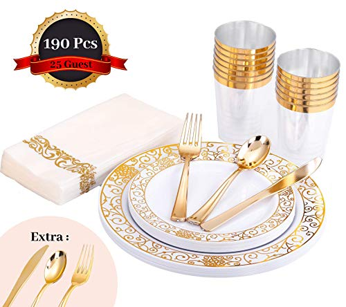 HomyBasic 190 Pcs Gold Disposable Plastic Plates & Silverware Set for 25 - Fancy Dinnerware Sets, Cups & Paper Napkins. 30 Pcs for Forks, Spoons, Knives  Perfect for Wedding, Birthday, Dinner Party