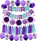 MAKFORT Happy Birthday Girlande Lila Hellviolett Pompoms Luftballons Spiralgirlanden Geburtstag Deko Partydeko Set