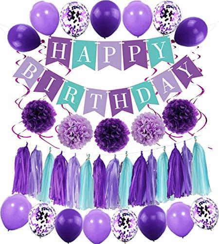 MAKFORT Happy Birthday Girlande Lila Hellviolett Pompoms Luftballons Spiralgirlanden Geburtstag Deko Partydeko...