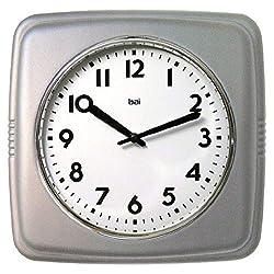Bai 750.SS Square Retro Wall Clock, 9.5, Satin Silver