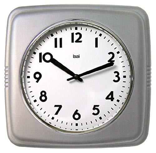 "Bai 750.SS Square Retro Wall Clock, 9.5"", Satin Silver"