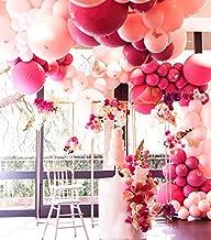 Pastel Pink Balloons Arch Garland Kit 103 Light Pink Balloons Fuschia Latex Balloons Decorating kit : 16ft Balloon Strip Tape 100 Balloon Dot Glue and Curling Ribbon for Kids Adult Birthdays Weddings