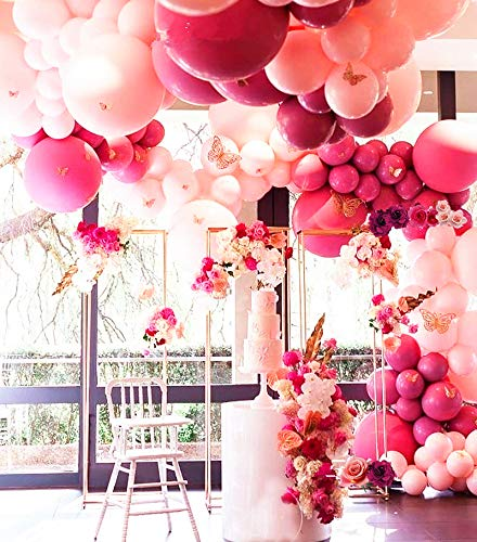 Captank Pink Balloons Pastel Garland Kit 106 Red Fuschia Latex Balloons Hot Pink Balloon kit: 16ft Balloon Strip Tape 100 Balloon Dot Glue and Balloon Ribbon for Kids Adult Birthdays Weddings Party