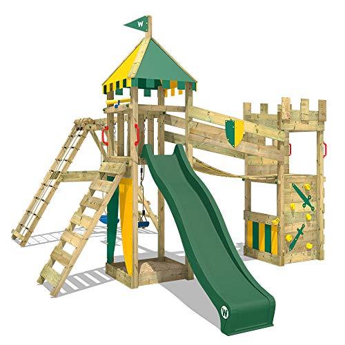 WICKEY Smart Legend 150 - Torre de juegos con balancín y tobogán verde, casa de juegos con caja de arena, escalera y accesorios de juego