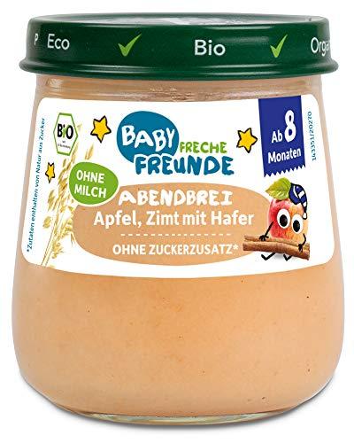 FRECHE FREUNDE Bio Gläschen Abendbrei Apfel, Zimt mit Hafer, für Babys ab 8 Monaten, ohne Zucker- und Salzzusatz, vegan, 6er Pack (6x120g)