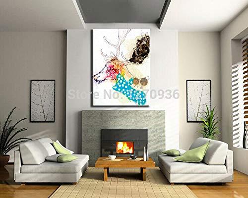 zzlzjjHot Koop PureAbstract Deer Oilon Canvas Woonkamer Decor Handgeschilderde Animal Wall Art New Style Pictures60x90CM